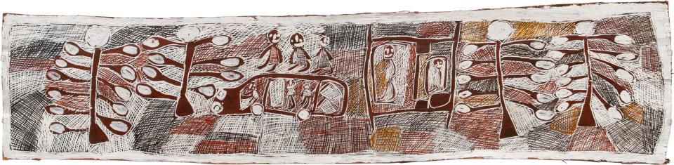 Nyapanyapa Yunupingu 1. Driving around in Sydney, 2008; Natural earth pigments on bark 3423N; 51 x 206 cm; enquire
