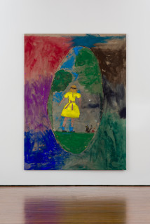 installation view; Jenny Watson Girl in a blindfold from the back, with Kitten and ball of wool, 2019; Japanese pigment, acrylic and cardboard decals on rabbit skin glue-printed Belgian linen; 255 x 190 cm; enquire
