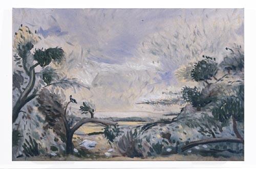 Linda Marrinon Magpie at Newport, 1996; Oil on canvas; 63 x 40 cm; enquire