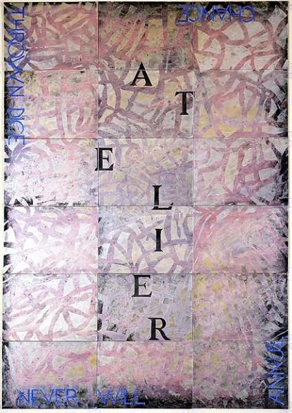 Imants Tillers Atelier X, 2002; synthetic polymer paint, gouache on 18 canvasboards, nos. 72776 - 72793; 152.4 x 106.7 cm; enquire
