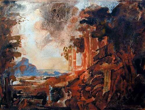 Mandy Martin After Salvator Rosa, Landscape with a Mill, 2002; pigment, ochre, hematite, mica, wax medium & acrylic binder on paper; 30 x 40 cm; enquire