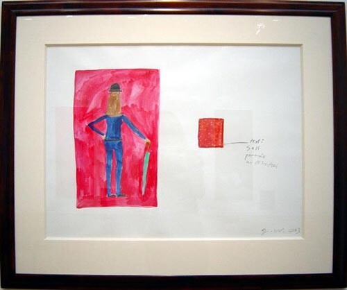 Jenny Watson Study for Mrs Peel, 2003; gouache on Waterford watercolour paper; 81 x 97cm (framed); enquire