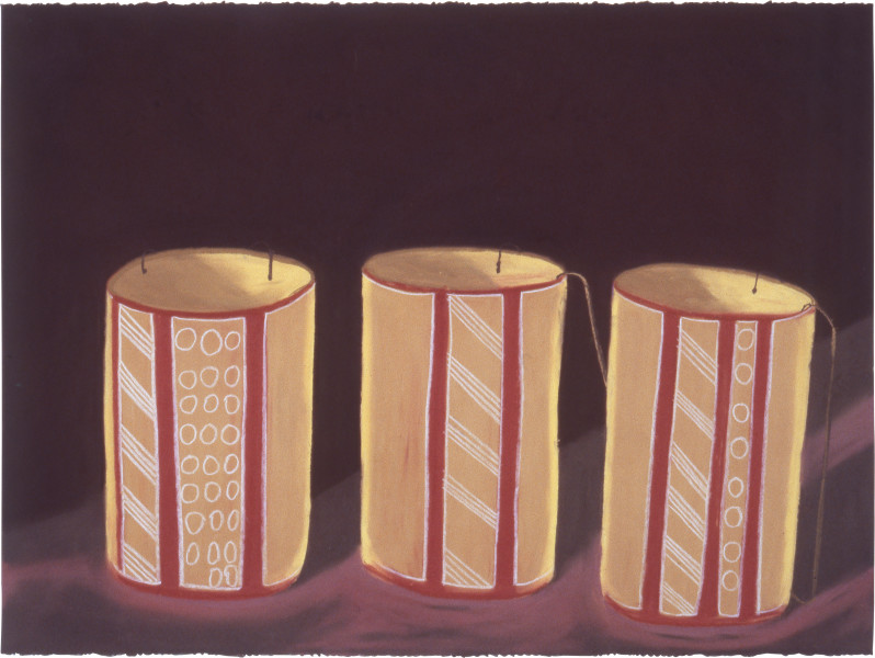 Fiona Foley Ramingining Dilly Bags, 1988; pastel on paper; 56.5 x 76.5 cm; enquire