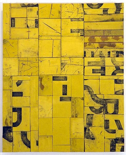 Rosalie Gascoigne A Certain Smile, 1994-95; retro-reflective roadsign on craftboard; 94 x 77 cm; enquire