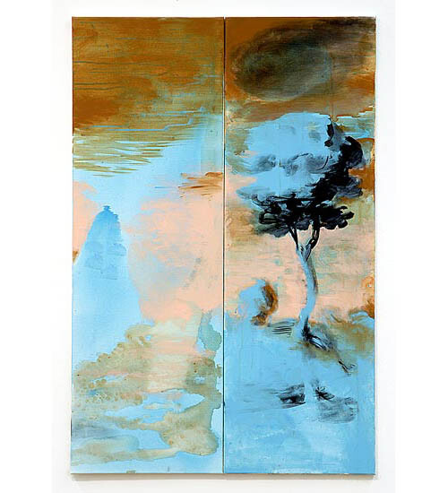 Tony Clark Landscape for a mammoth, 2006; from the series Exhibited in 'Stolen Ritual', 2006; acrylic and permanent ink on canvas board; 2 panels, overall dimensions 120 x 80cm; enquire