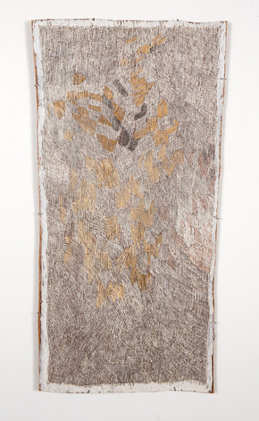 Nyapanyapa Yunupingu 11. Untitled, 2013; 4309V; natural earth pigments on bark; 137 x 70 cm; enquire