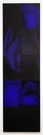 Lindy Lee Darkness in the Sun, 2006; acrylic and wax on boards, archival inks on pure cotton photorag; 10 panels, 202.5 x 60 cm; enquire