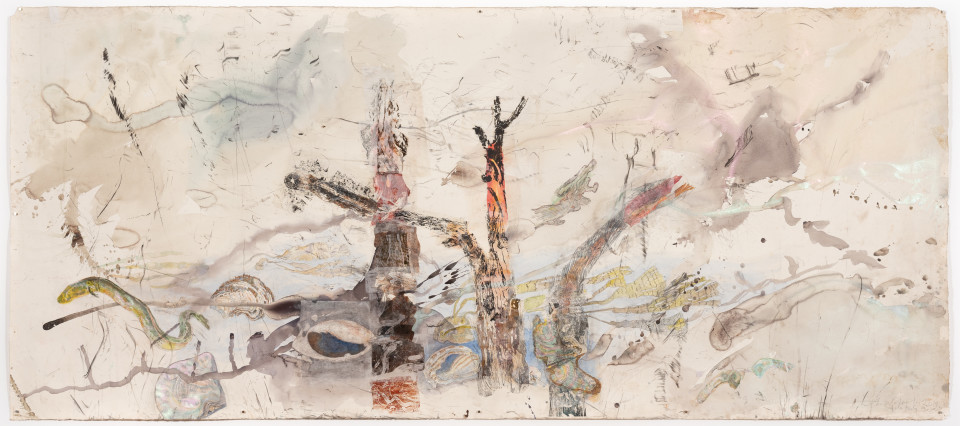 John Wolseley Umwelt – The life world of the Mangrove oyster, the Teredo worm and the Giant Marbled eel, 2019; watercolour, carbonized wood, graphite and relief prints chine-colle on paper; 153 x 346 cm; enquire