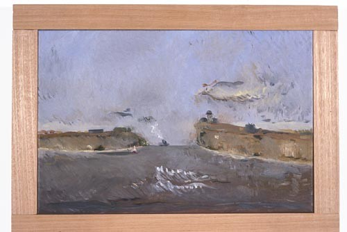 Linda Marrinon Stormy Day at Queenscliff, 1996; Oil on canvas; 46 x 30 cm; enquire