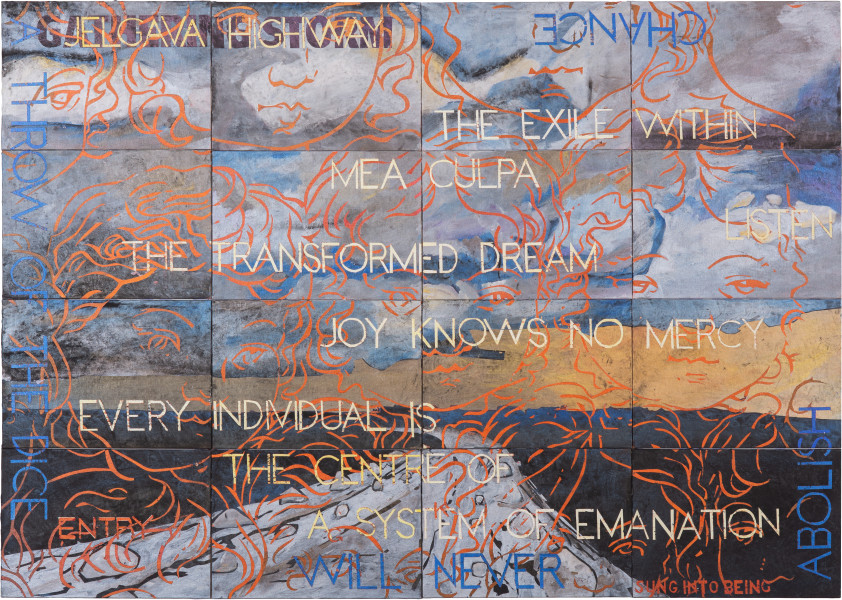 Imants Tillers Nature Speaks: GK, 2018; synthetic polymer paint, gouache on 16 canvasboards, nos. 108015 - 108030; 101 x 141.5 cm; Enquire