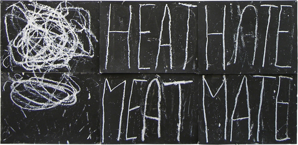 Newell Harry Anagram drawing: Heat / Hate / Meat / Mate, 2005; black gesso, oil pastel, on ironed Fabriano paper, six parts; overall dimensions: 112 cm x 250 cm; enquire