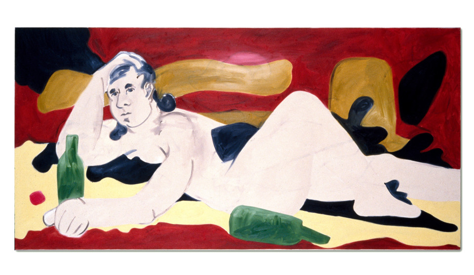 Linda Marrinon Nude With Green Bottles, 1990; oil on canvas; 76 x 152 cm; enquire