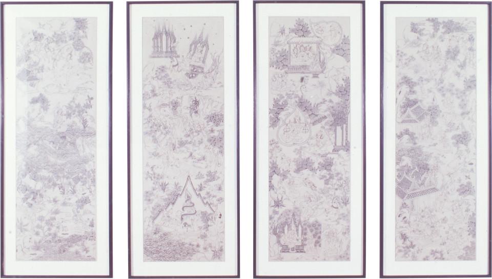 Phaptawan Suwannakudt Buddha's Lives, 1995; ink on tracing paper; 4 panels, 180 x 65 cm each; enquire