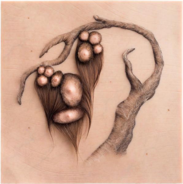 Patricia Piccinini Orchard, 2012; Silicone, fibreglass and human hair; 70 x 70 x 7 cm; enquire