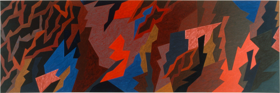 Lesley Dumbrell Flux, 1985; Liquitex on canvas; 122 x 366 cm; enquire