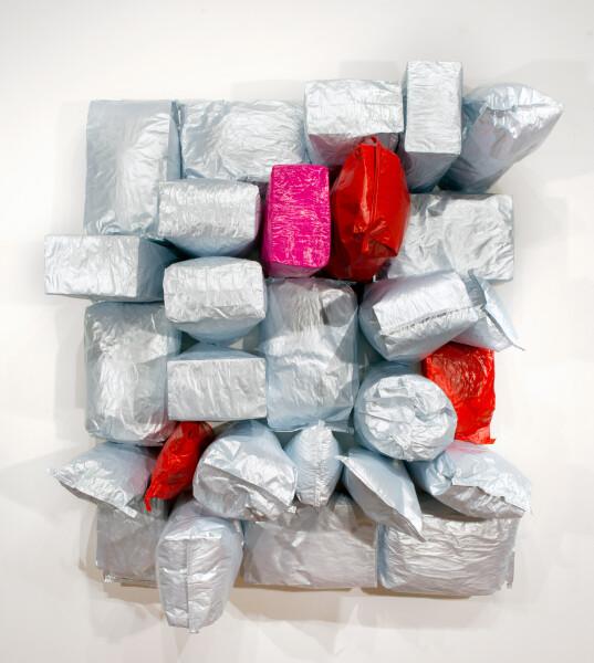 Jim Lambie Love in Outer Space, 2015; Potato bags, acrylic paint, expanding foam on canvas; 203 x 185 x 69 cm; enquire