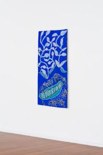installation view; Dhambit Munuŋgurr Naku at Dhuruputjpi, 2021; 1408-21; earth pigments and acrylic on bark; 170 x 88 cm; enquire