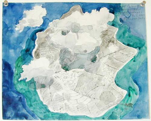 John Wolseley Leaf Island Indonesian Archipelago, 2001; watercolour and pencil on paper; 25 x 30 cm; enquire