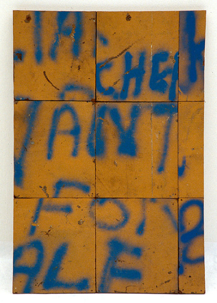 Rosalie Gascoigne Painted Words, 1988; spray painted Masonite, wood cut-outs on plyawood; 83 x 56.5 cm; enquire