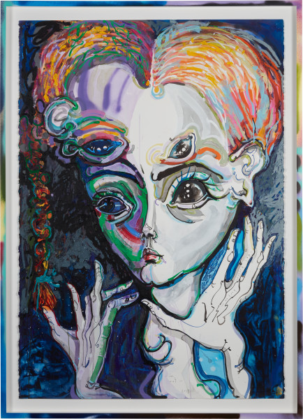 Del Kathryn Barton im out, 2019; acrylic, oil stick on paper, hand finished frame; 164 x 117.5 cm; enquire
