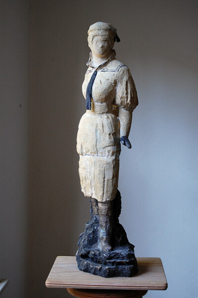 Linda Marrinon Woman in Sailor Suit, 2009; tinted and painted plaster; 70 cm; enquire