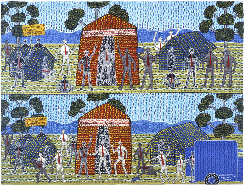 Robert Campbell Jnr Aboriginal Embassy, 1987; acrylic on canvas; 91 x 120 cm; enquire