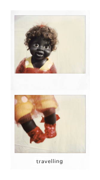 Destiny Deacon Travelling, 1998-03; light jet print from Polaroid original; 200 x 100 cm; Edition of 15; enquire