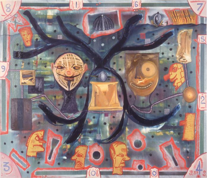 Gareth Sansom Marriage, 1988; oil and enamel on linen; 182.8 x 213.3 cm; enquire