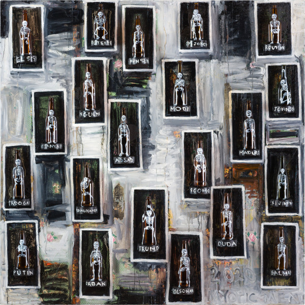 Fiona Hall ALLSTARS - drunk on power: myopic men of 2020, 2020; oil paint on glass and linoleum; 150 x 150 x 10 cm; enquire