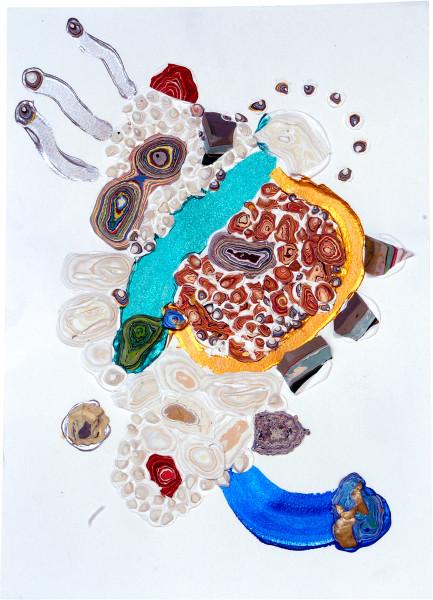 Rohan Wealleans Blue Tip, 2007; paint on paper; 54.5 x 42 x 6 cm; framed dimensions; enquire