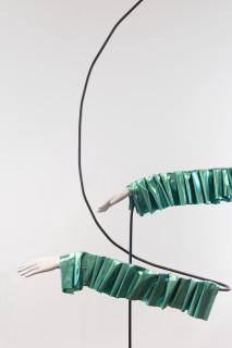 Sarah  Contos The Magician (detail), 2017; steel, metallic fabric, aluminum, epoxy, poly-fil, thread, found mannequin hands; 211 x 190 x 105 cm; enquire