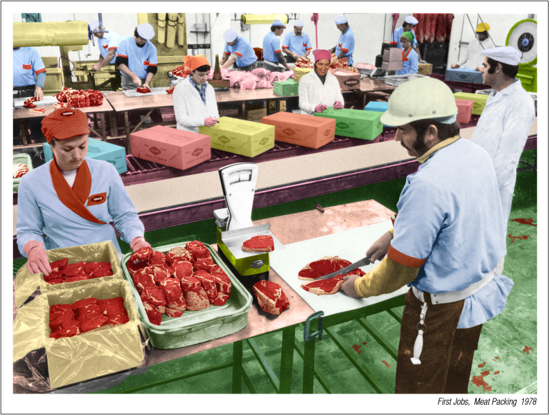 Tracey Moffatt First Jobs, Meat Packing 1978, 2008; from the series First Jobs; Archival pigments on rice paper with gel medium; 73.5 x 94.5 cm; Paper size: 66 x 88cm; edition of 20; enquire