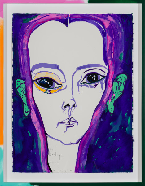 Del Kathryn Barton a human, 2019; gouache on paper, hand finished frame; 87 x 67.5 cm; enquire