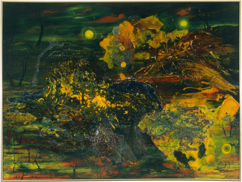 Dale Frank The Forest with Good Mothers, 1986; acrylic & mixed media on canvas; 123 x 163 cm; enquire