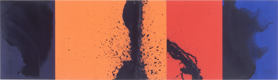 Lindy Lee Because the Universe is., 1995; photocopy and acrylic on Stonehenge paper; 41 x 143 cm; 5 panels; enquire