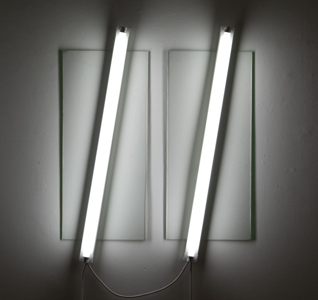 Bill Culbert Flat light glass vertical, 2009; glass, fluorescent lights; 95 x 75 x 10 cm; enquire