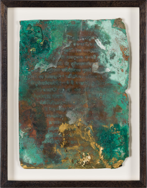 Kirtika Kain foglio II, 2019; natural oxidation, pigment, charcoal, gold leaf on copper; 28 x 22 cm; AUD 1,800.00; enquire