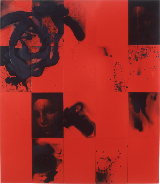 Lindy Lee Vermillion Palace, 1997; acrylic and photocopy on Stonehenge paper on; 164 x 142.5 cm; 20 panels; enquire