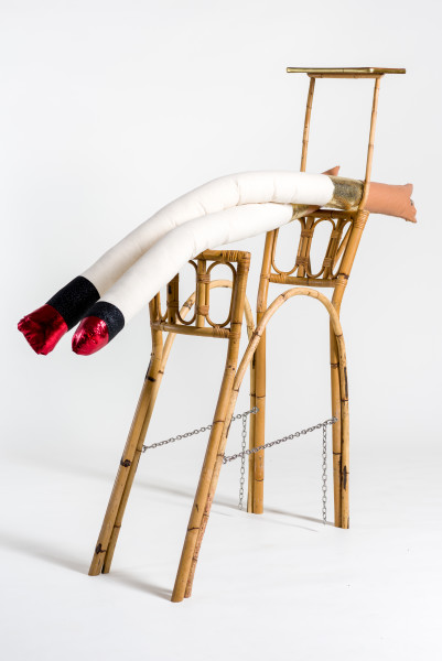 Sarah  Contos Bar, 2019; repurposed cane, fabric, wood, poly-fibre, stainless hardware, leather; 132 x 140 x 35 cm; enquire