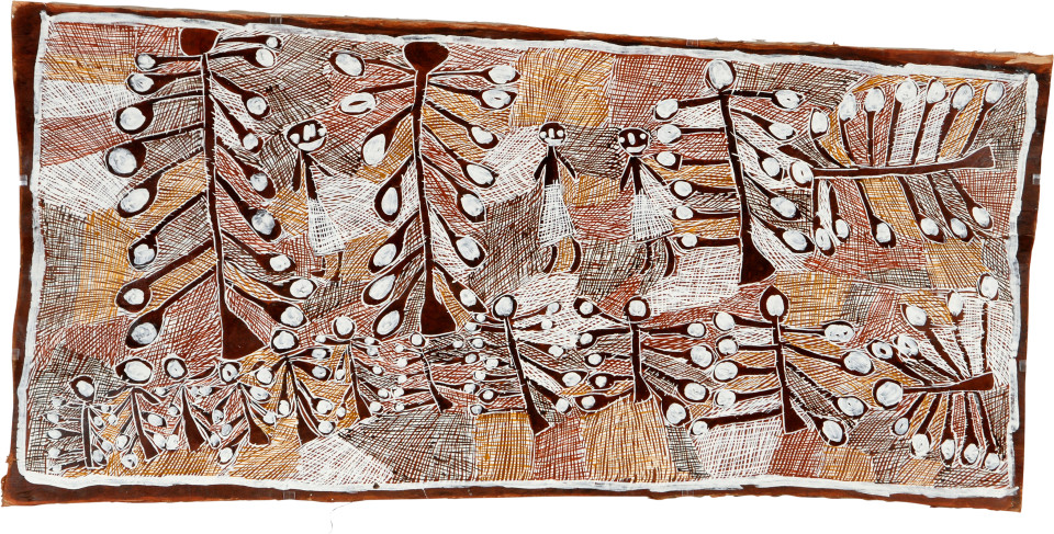 Nyapanyapa Yunupingu Artist with Granddaughters and White Apples, 2008; natural earth pigments on bark; 77 x 159 cm; enquire