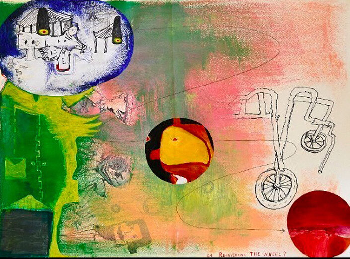 Gareth Sansom On reinventing the wheel?, 2003; Ink, acrylic and collage on paper; 69 x 86 cm; Paper size: 56 x 75; enquire