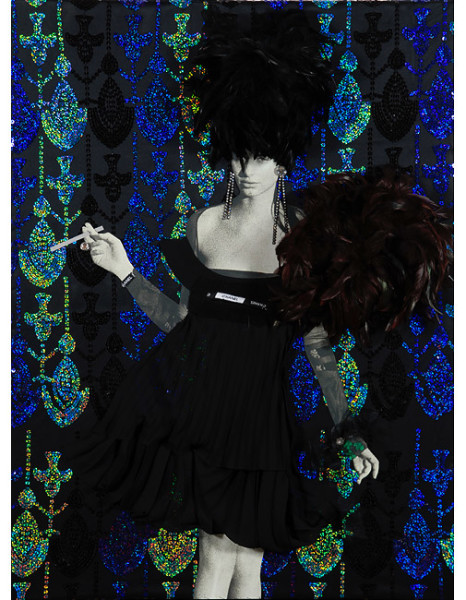 """Jacqueline Fraser 11. """"If that notorious Elizabeth Taylor devotee slips teensy four leaf clovers in her Chanel couture, baby, she'll be the next big thing"""", 2008; backlit photographs and mixed media; 102 x 77 x 20 cm;"""