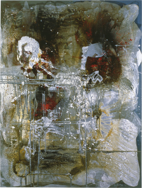 Dale Frank Please, Please Trust Me, 1991; aluminium, resin, varnish and acrylic on linen; 260 x 200 cm; enquire