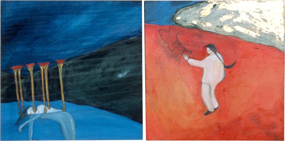 Vivienne Shark LeWitt China Boy in the Desert. The Dead Girl., 0; acrylic on wood, 2 panels; 56 x 28 cm; enquire