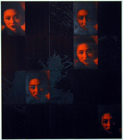 Lindy Lee Uji (time-being), 2001; photocopy, acrylic, oil, wax, and ink on board; 166 x 147 cm; enquire