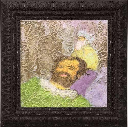 Hany Armanious Woodsman, 1998; gesso, gouache & acquarelle on styrofoam; 50 x 50 cm; enquire