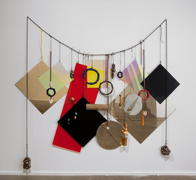 Mikala Dwyer Wall Necklace, 2013; Perspex, acrylic, steel, rope, bronze, glazed ceramic, whiskey, glass, leather, shoelace; 230 x 210 cm; enquire