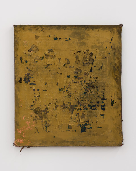 Kirtika Kain The Solar Line XIV, 2020; Oil paint, charcoal, gold paint, gold pigment, beeswax, copper leaf, disused silk screen; 90 x 80 cm; enquire