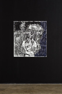 installation view; Pierre Mukeba (Black Blotch), 2021; charcoal and pastel on archival paper; 90 x 84 cm; enquire