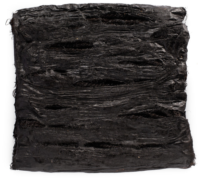 Kirtika Kain shame, 2019; tar, Indian cotton, rope; 44 x 39 cm; Enquire